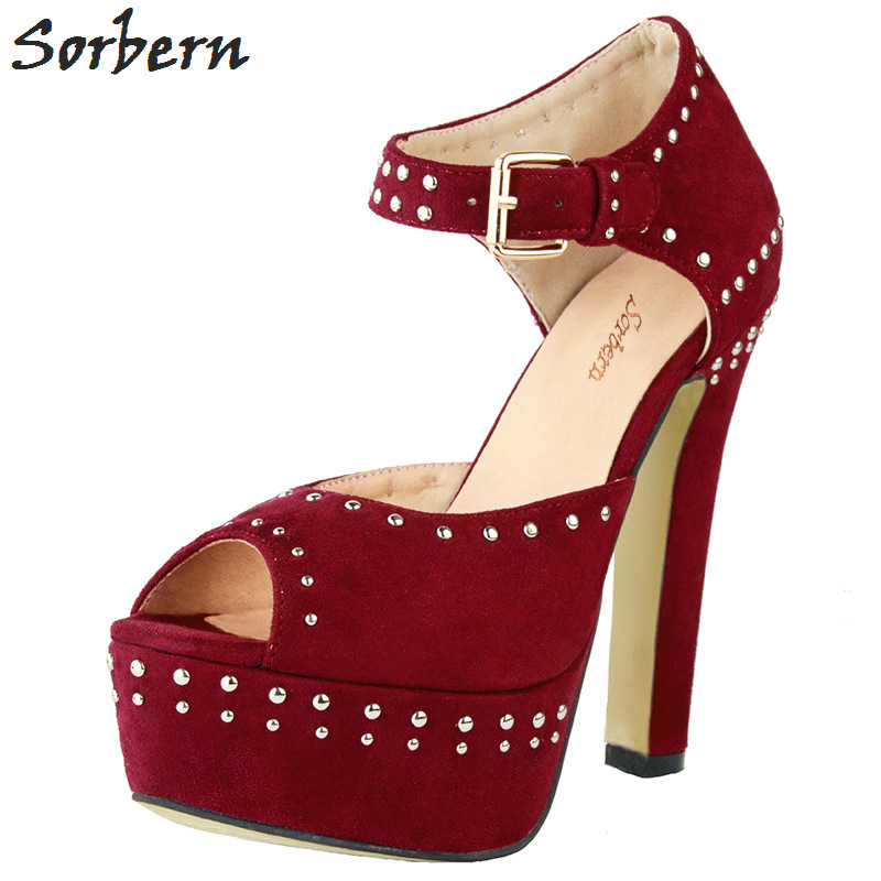 Sorbern Women High Heels Pumps Plus Size Chinese 34-47 Peep Toe Buckle Strap Rivets Ladies Party Pumps Shoes Hot Sale lasyarrow brand shoes women pumps 16cm high heels peep toe platform shoes large size 30 48 ladies gladiator party shoes rm317