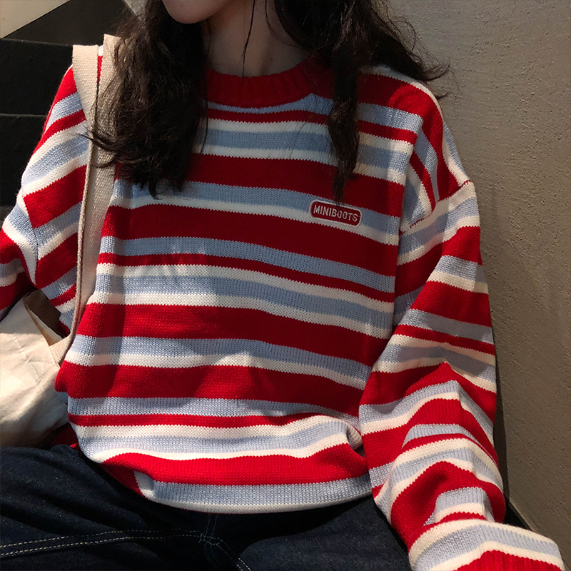 Women's Clothing Cute Kawaii Retro Lazy Ins Embroidery Letters Loose Striped Sweater Lady Harajuku Ulzzang Sweaters For Women