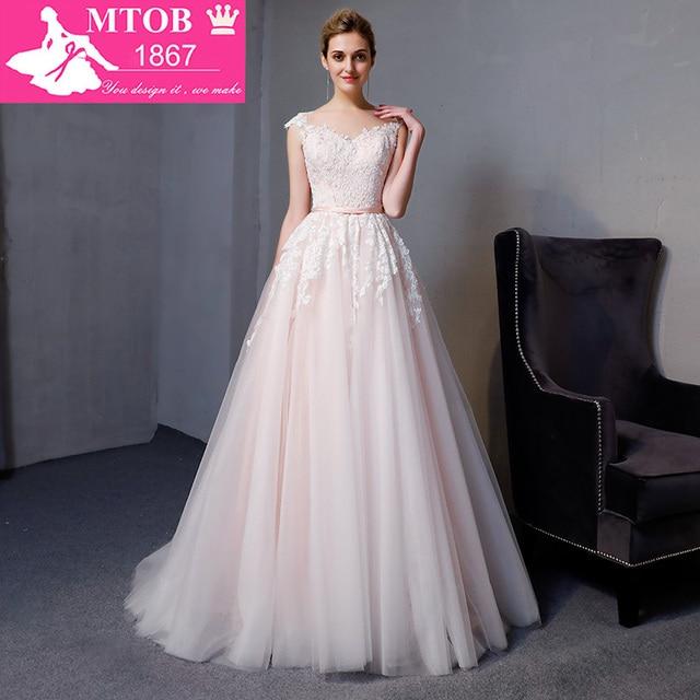 Gorgeous A line Lace Wedding Dresses Elegant Beads Pearls Sexy Backless dresses Luxury Bride Gown vestido de noiva MTOB1812