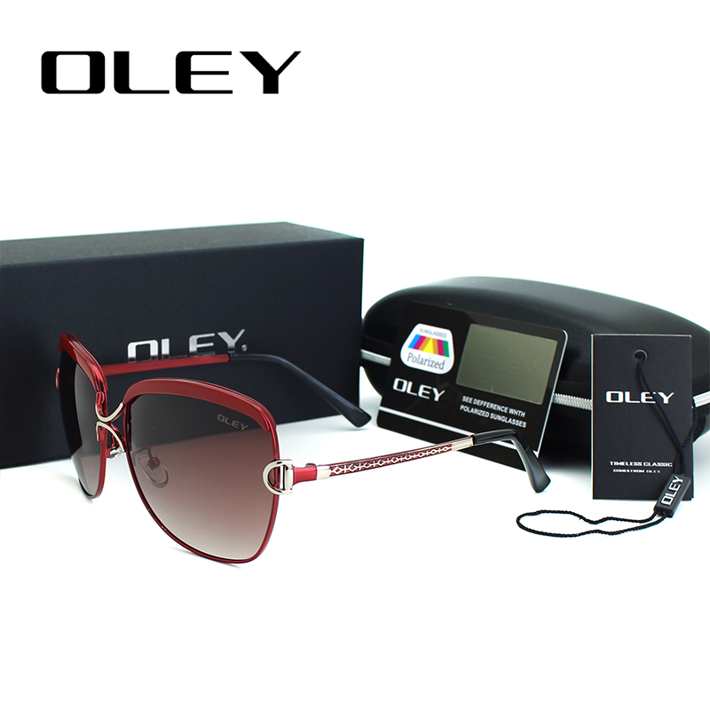 Sexy luxury Polarized sunglasses for women 2017 red metal frame oversized Sun Glasses UV400 goggles With