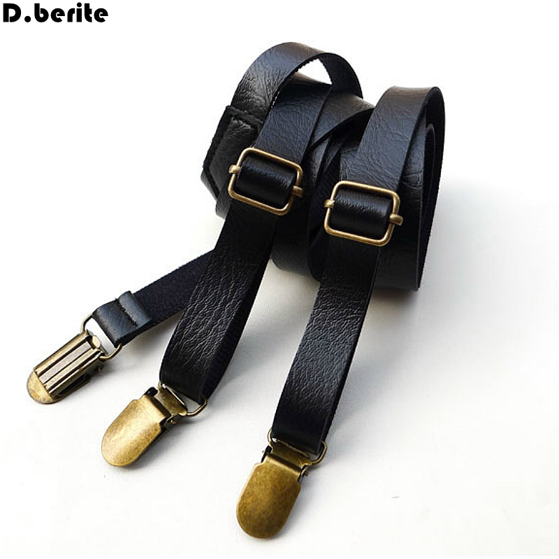 Fashion Mens Black Solid Braces Unisex Adjustable Slim Suspenders Clip Braces Adult Belt Strap For Wedding Party BDXJ1502