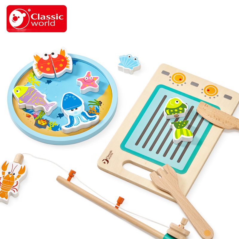 classic world wooden Magnetic fishing multifunctional childen kitchen Knife board chopping board Educational toy set Fish Game square chopping board
