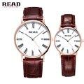 2017 Nueva Marca LEER Amantes de Los Relojes de Cuarzo Relojes Mujeres de Los Hombres se Visten de Cuero Relojes Vestido Relojes de pulsera de Moda Casual Relojes de Oro
