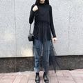 [Soonyour] 2017 moda primavera de todos os coincidir com novo bouffancy preto gauze camisole dress mulher sexy sweet y05601