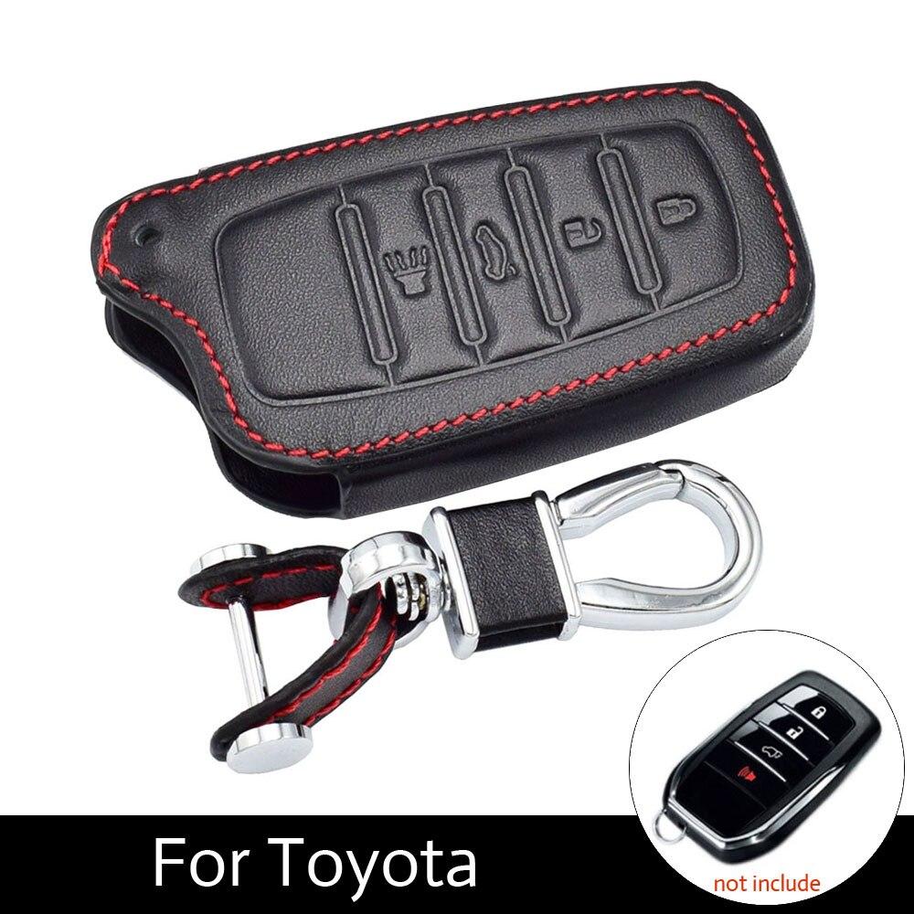ATOBABI 4 Buttons Leather Key Cover Cases For Toyota Miral Fortuner Rav4 Highlander Crown Smart Key KeyChain Fob Car-StylingATOBABI 4 Buttons Leather Key Cover Cases For Toyota Miral Fortuner Rav4 Highlander Crown Smart Key KeyChain Fob Car-Styling