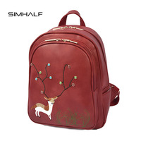 SIMHALF Fashion Rivet Women Backpack College Style Good Quality School Backpacks Teenage Girls Women Pu Leather