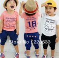 2014 new retail fashion children/kids clothing short sleeve T-shirt +pants suit Boys Elephant children suit Free shipping