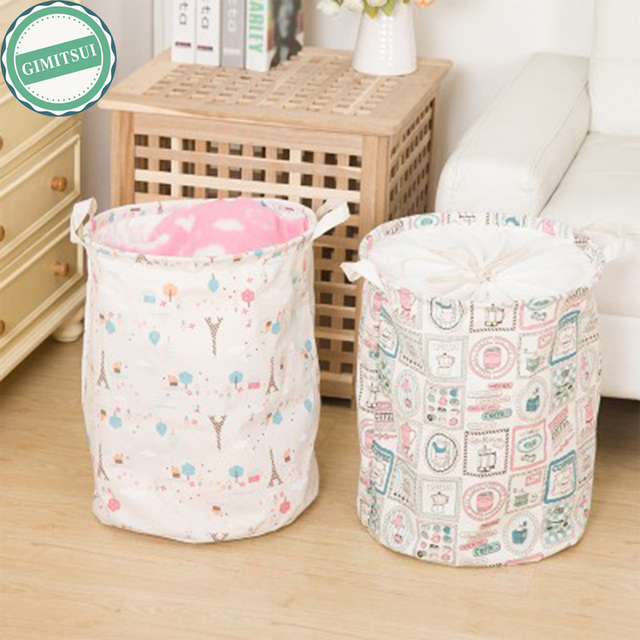 Foldable Cotton Linen Washing Clothes Laundry Basket Sorter Bag H&er Storage Basket Toy Organizer Storage & Foldable Cotton Linen Washing Clothes Laundry Basket Sorter Bag ...