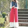 Estilo chino Del Otoño Del Resorte de Las Mujeres Chaleco Delgado retro literario patchwork Chaleco Chalecos 2 colores
