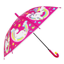 19 inch cute Unicorn child umbrella environmental protection material transparent umbrella child straight handle umbrella(China)