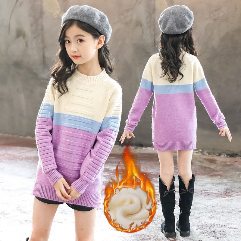 Fleece Toddler Girls Sweaters 2018 Winter Warm Christmas Dress Baby Princess Girl Autumn Kids Sweaters Tops Teenage Clothing christmas sweaters for children toddler knited girls sweaters for fall winter thick tops warm mother and daughter clothes beige