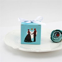 50pcs  wedding decoration  Tiffany blue candy box wedding ring bride & groom paper gift box candy box party gift