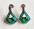 Elegant high grade green fire opal earrings for women