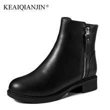 KEAIQIANJIN Woman Winter Chelsea Boots Genuine Leather Shearling Biker Boots Fashion Zipper Black Wool Snow Martins Botas 2018
