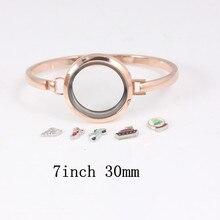6pcs/lot Rose gold Stainless Steel Floating Locket Bangles Round Screw Plain Living Bracelets