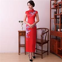 Vintage Print Floral Traditional Chinese Dress Elegant Women Satin Sexy Cheongsam Summer New Lady Sheath Long Qipao M-XXXL