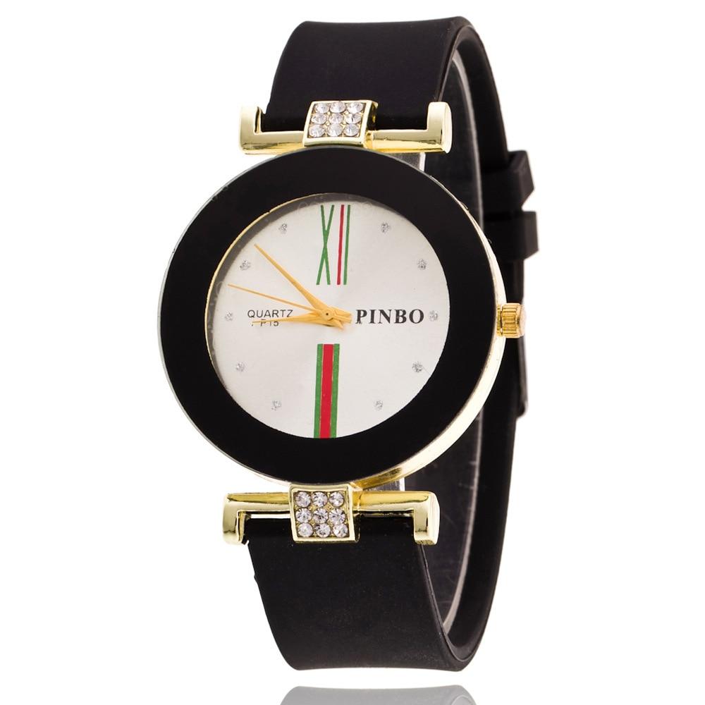 Classic Black White Silicone Diamond Quartz Watch Bra &