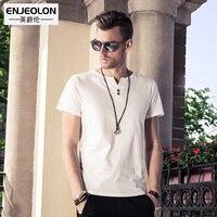 Enjeolon brand quality 6 color solid t shirt men,cotton V-neck clothing base fit casual men t-shirts plus size S 4XL T1530