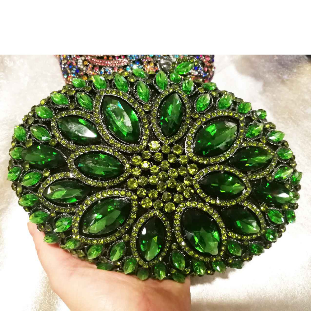 Luxury Emerald Rhinestone Clutch Bag for Female Wedding Bridal Purse Party Bags Gold Silver Ladies Chain