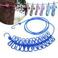Tragbare Reise Stretchy Wäscheleine Outdoor Camping Winddicht Kleidung Linie Mit 12 Clamp Clips Haken Outdoor Tool line clip line hookline clamp -