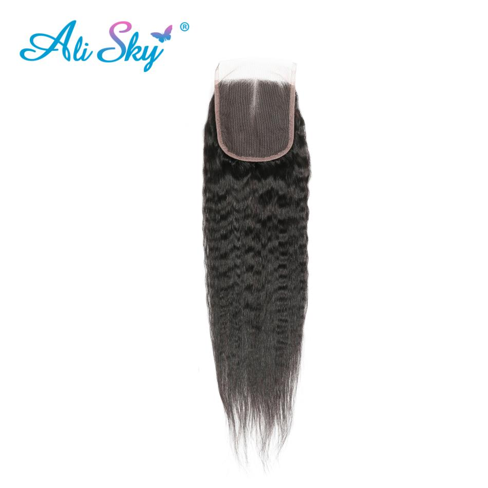 Alisky Peruvian Kinky Straight Lace Closure 4x4 Free/Middle/Three Part Human Hair Weaving Bleached Knots Remy Hair Can Be Dyed