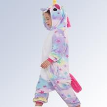 Купить с кэшбэком Christmas Pajamas Unicorn for Boys Girls Pyjamas Children Cartoon Animals Hooded Sleepwear Onesie for Baby Teenage 4 6 8 10 12 T