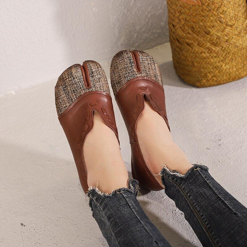 2019 Printemps Appartements Cuir Nouveau Marque Mocassins Chaussures Simples Été Coffee Bouche Plates Conception String En Rétro Femelle Profonde Véritable Peu Femmes wwr1pdq