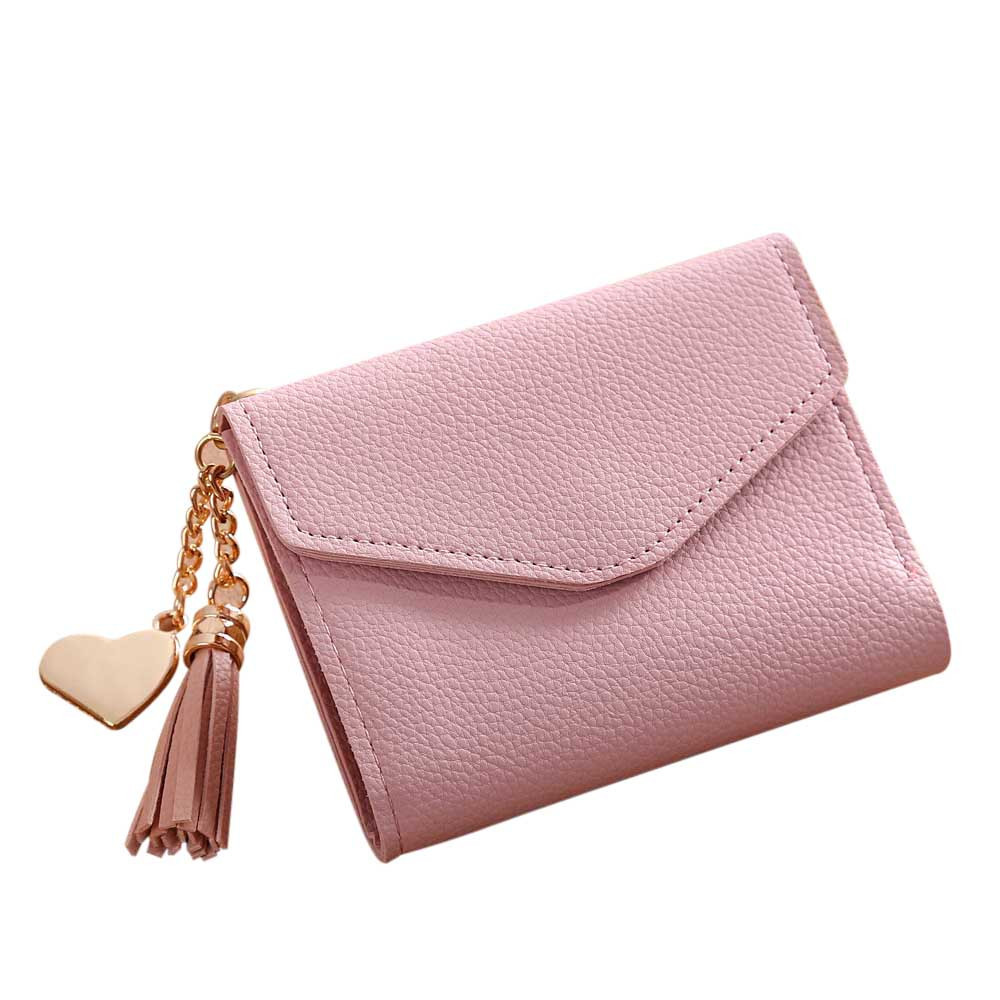 2017 High Grade Women Fashion Simple Short Wallet Tassel Purse Card Holders Female Leather Purses Proxy Purchase A9