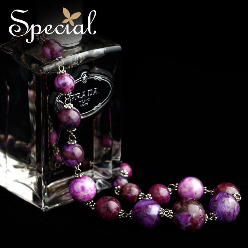 Special Fashion Maxi Necklaces Natural Stones Vintage Beaded Purple Necklaces Pendants Free Shipping Gifts for Women