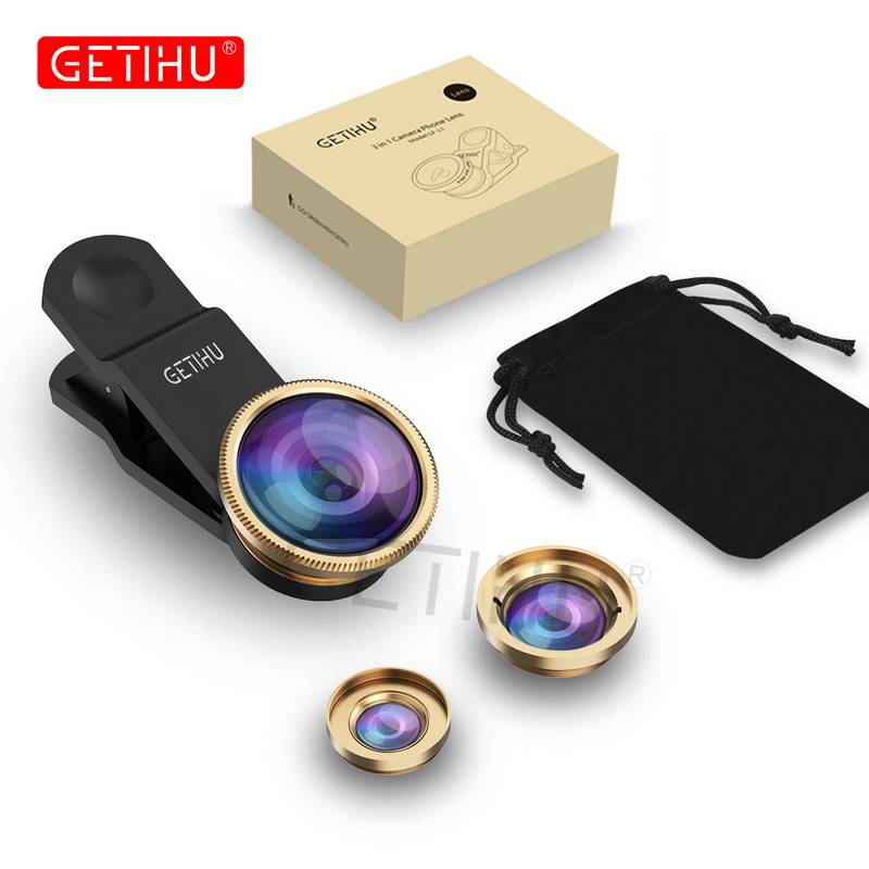 Universal 3 in 1 Wide Angle Macro Fisheye Lens Camera Mobile Phone Lenses Fish Eye Lentes For iPhone 6 7 Smartphone Microscope 5