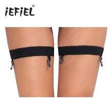4368cfa3879 iEFiEL 1 Pair Black Women Antiskid Harness High Thigh Garter Belt Sock  Holder Fastener Suspender with