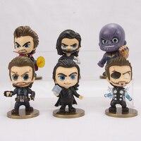 FUNKO POP 6pcs/set Marvel Avengers Super Hero Characters Model Vinyl Action Figures anime figure toys for children