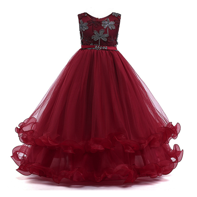 Girls Embroidery Flower Dress Kids Layered Cake Dress Summer Princess Formal Pageant Dress Party Teens Young Girls Prom Gowns