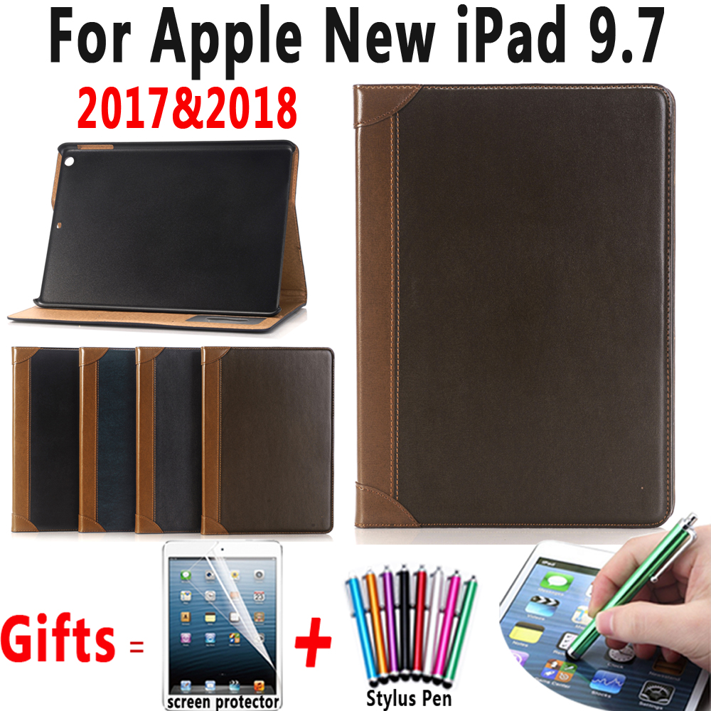 Book Pattern Slim Premium Leather Cover For Apple New iPad 9.7 2017 2018 A1822 A1823 A1893 Case with Stand + Screen Protector