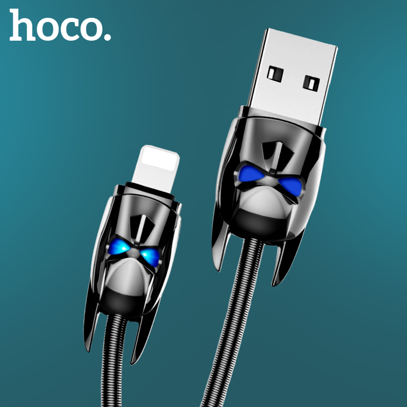 HOCO Original Metal spring USB Cable unique appearance for iphone X 8 7 6 5 Fast Charging Cable for Apple Plug USB Charger Cable