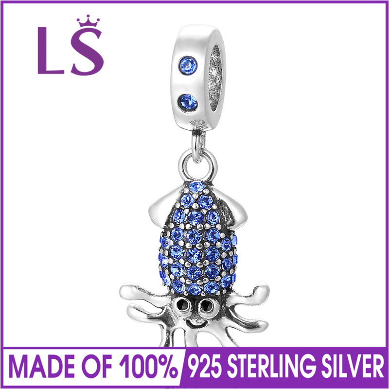 LS Animal Octopus Dangle Charm With Full Zircon 100% 925 Sterling Silver Pendant Beads Fits European Charms Bracelet