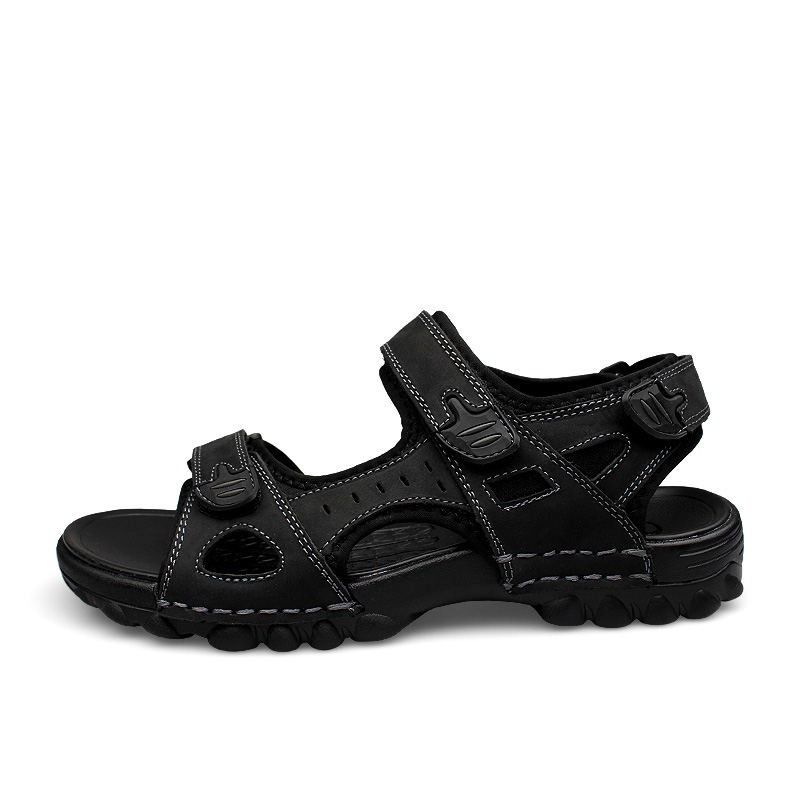 Plein Chaussures Véritable Robe En Noir Taille Grande Lumière brown Air Plage Sandales Mens Black Mode Hommes D'été Laisumk 48 Cuir wxOgZ0avq