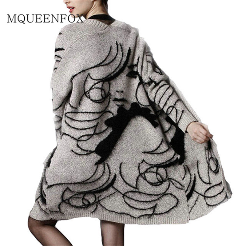 Women's Sweater Cardigans 2019 Ladies Human Face Harajuku Sweater Outerwear Spring Autumn Long Sleeve Knit Sweater Cardigan Coat