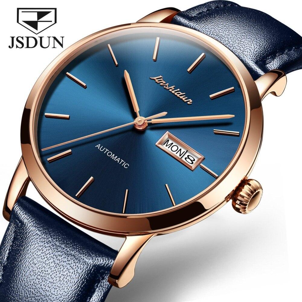 JSDUN Top Brand Watch Men Automatic Mechanical Wristwatches Mens Genuine Leather Waterproof Blue Watches Business Men's Clock