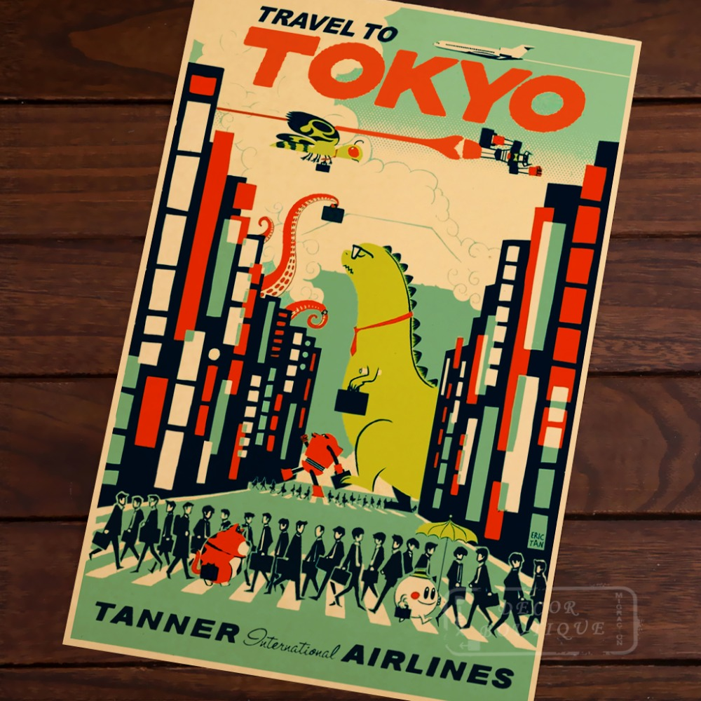 Pop Art Japan Tokyo Map Vintage Travel Poster Classic Retro Kraft ...