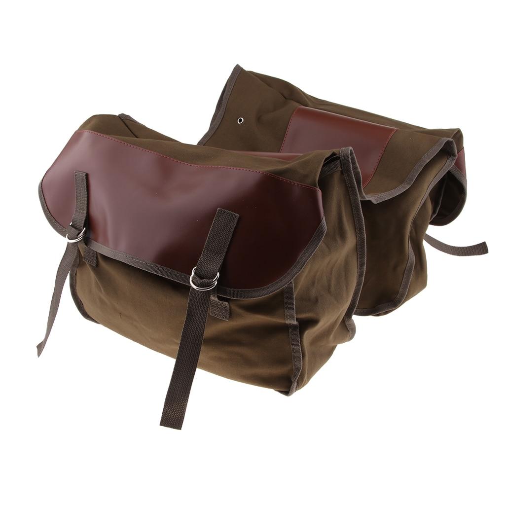 Sacchetto Borse Della Marrone Vintage Bag Doppio Del Bicicletta Rack Mototrcycle Cargo Accessori Trunk Posteriore Laterali qwpaR