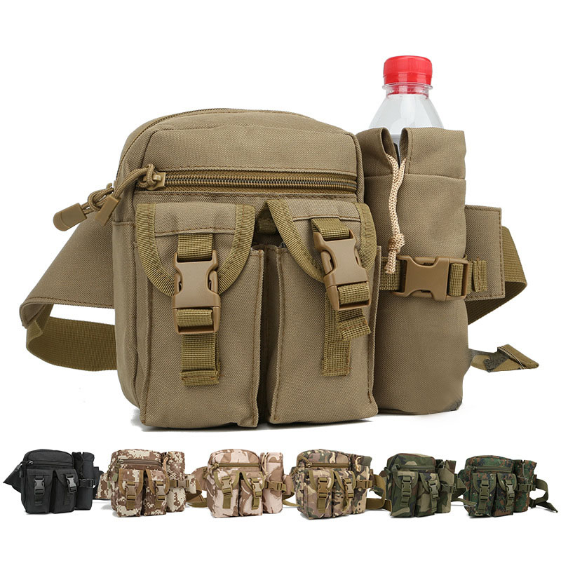 2PCS SET Tactical Waist Bags Nylon Camouflage Outdoor Sport Bottle Bag Waterproof Hunting Hiking Military Bag Men Travel Bags 1000d nylon molle tactical hunting bags outdoor sport single shoulder bag men outdoor sport camping hiking hunting waist bags