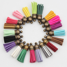 10PCS/lot Bronze Plated Head 38mm Leather Tassel for Jewelry Making Diy Keychains Bag Pendant Decoration Purl Jewelry Findings