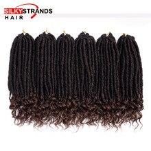 Ombre Goddess Faux Locs Curly вязаные волосы для наращивания с шелковистыми прядями синтетические мягкие Дрянные Locs крючком косы
