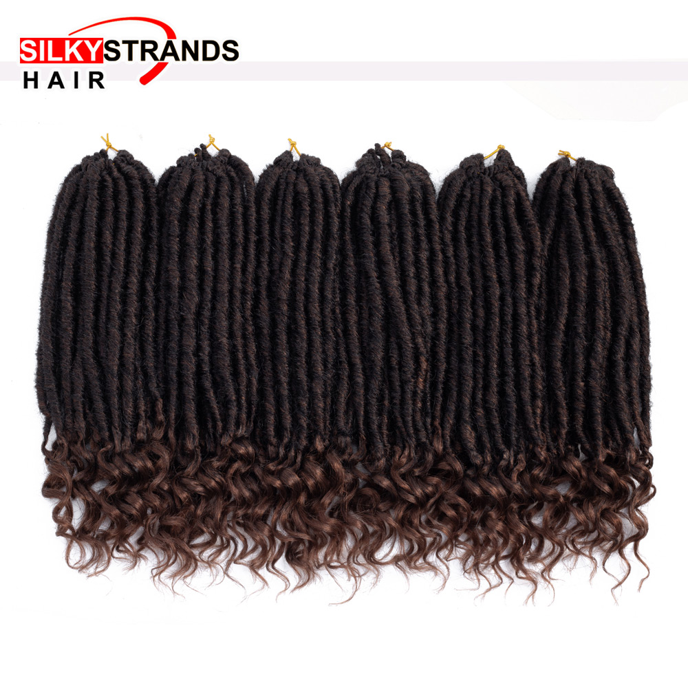 Ombre Goddess Faux Locs Curly Crochet Hair Extensions With Silky Strands Synthetic Soft Dread Locs Crochet Braids