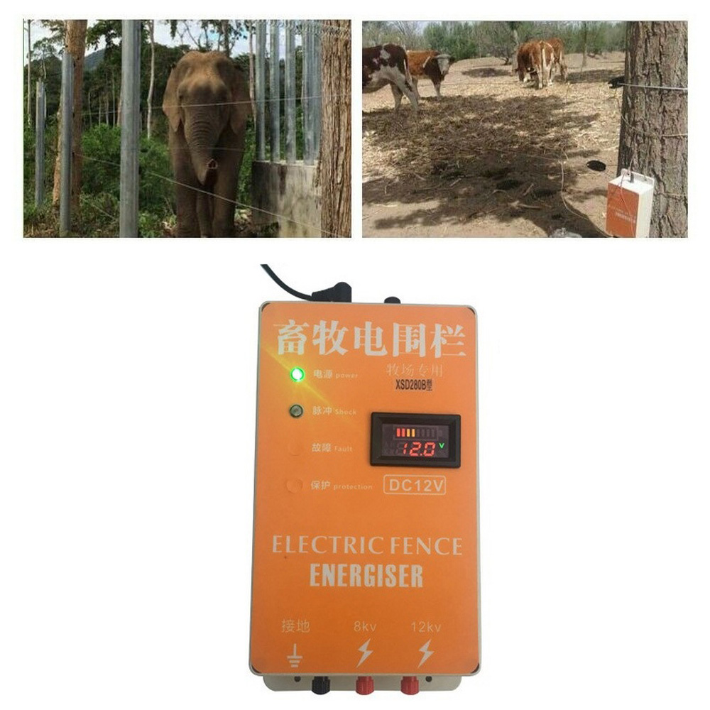 Electric Fence 20KM Energizer Charger for Animals Electric Fencing Controller of Cow Sheep Horse Deer Bear Pig Goat Dog Chicken in Fencing Trellis Gates from Home Garden