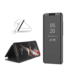Fashion Plating Mirror Mobile Phone Cases for Huawei A9 2018 Y9 Y8 Leather Bracket Flip Cover 2019 Case