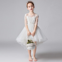 2019 Formal Girls Dress Aline Gown O Neck Princess Lace Flower Girl Tail for Party Girl Clothes 3 4 6 8 10 12 14 Years RKF194013