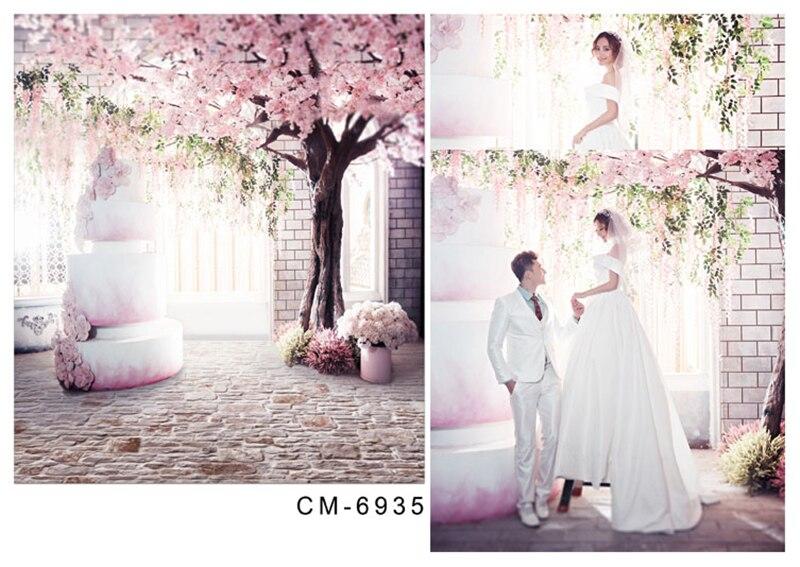 200*300 cm De Mariage Photographie Décors Fond Vinyle Rose Cerise Arbre Carreaux De Plancher Romantique De Mariage Pour Le Studio