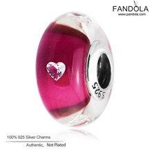 2017 Día de San Valentín Ceris Corazón Charms Adapta Pandora Pulseras 925 Granos de Cristal de Murano DIY Fabricación de La Joyería Fina